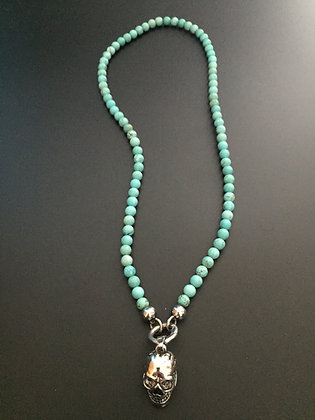 Collier Clip Howlite turquoise & Skull