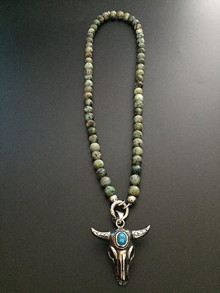 Collier Clip 8mm Turquoise africaine & Buffle stone
