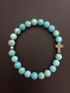 Howlite Turquoise & Hematite Cross