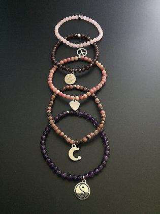 """Serie """" Pink Lady"""" 5 bracelets"""