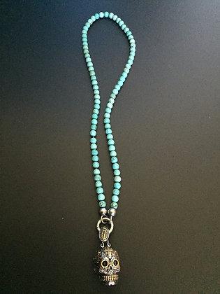Clip Collar 6MM Howlite turquoise & Skull Calavera