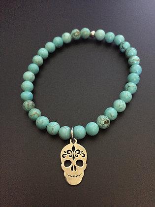 Bracelet Howlite turquoise & Mexican skull