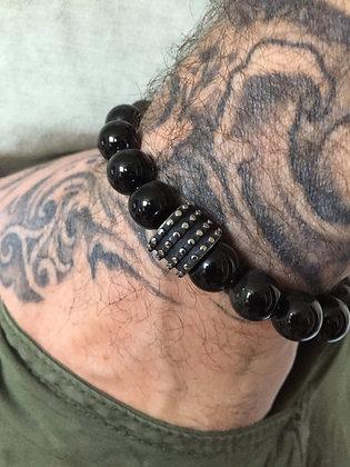 Bracelet 10 en Obsidienne Oeil Celeste & DisqueCross