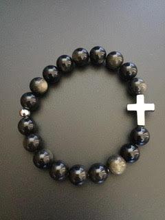 Obsidienne dorée & Croix Hematite