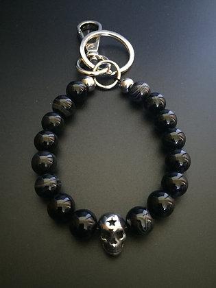 Porte-clés Agate Noire & Skull Etoile