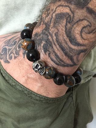 Bracelet 12 en Obsidienne Oeil Celeste et Jaspe du Nepal & Skull