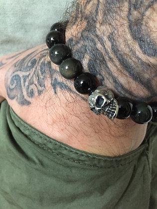 Bracelet 10 en Obsidienne Oeil Celeste & Skull