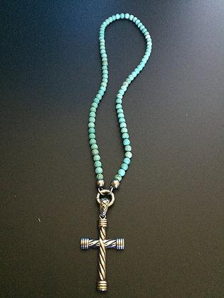 Collier Clip 6MM Howlite turquoise & Croix Torsade