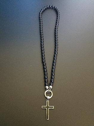 Collier Clip 8MM Onyx mat & Croix Noire