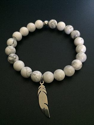 Bracelet Howlite blanche & Plume
