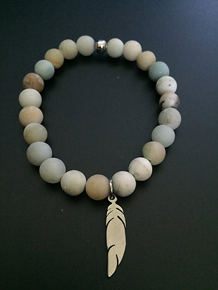 Bracelet Amazonite & Plume