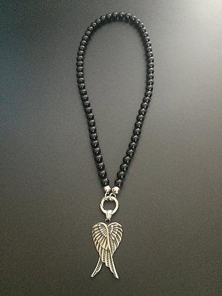 Collier Clip Onyx Noire Brillante & Double ailes