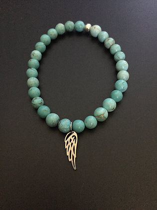 Bracelet Howlite turquoise & Aile d'ange