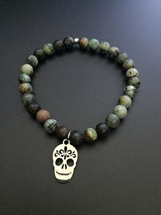 Bracelet Turquoise africaine & Mexican skull