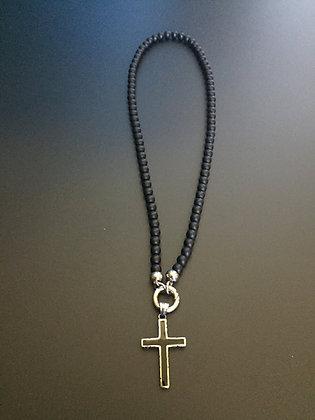 Collier Clip 6MM Onyx mat & Croix Noire