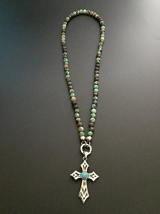 Collier Clip 6MM Turquoise africaine & Croix stone