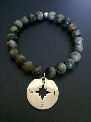African Turquoise & Compass Rose Bracelet