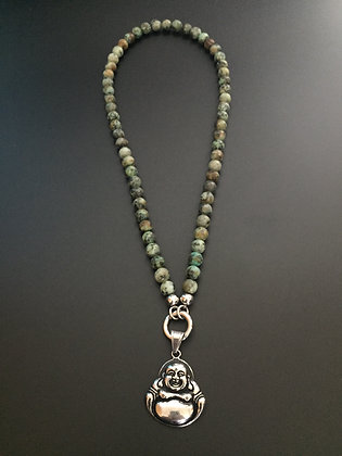 Collier Clip Turquoise africaine & Boudhha