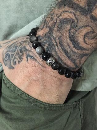 Bracelet 8 en Oeil de chat & Cylindre Gravé