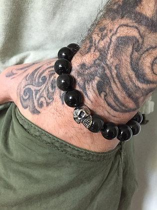 Bracelet 12 en Obsidienne Oeil Celeste et Skull