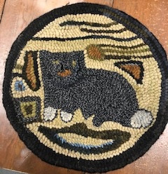 Prim Cat, chairpad, 13 in round, $125