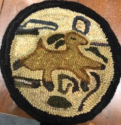 Prim Deer, chairpad, 13in round, $125