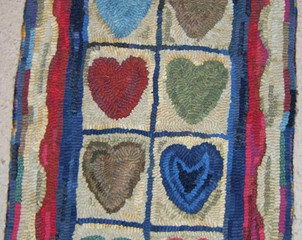 String of Hearts, pattern on linen, 15x30, $85