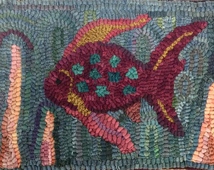 Tropical Fish, pattern on linen, $48, 9x13