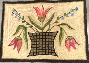 Drowsy Tulips,pattern on linen, 22x31 $95