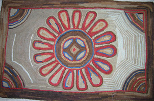 Antique Sunflower,pattern on linen $115