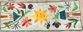 Avalon's Garden, pattern on linen, 15x40 $115