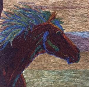Mustang, pattern on linen, $95, 20x20,