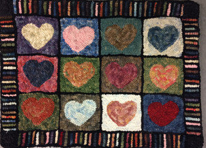 Heart Sampler, pattern on linen, 12x16, $85
