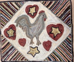 Rooster, Stars and Hearts $295, 21x24