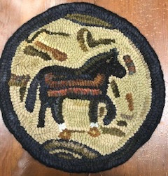Prim Horse, chairpad, 13in round, $125
