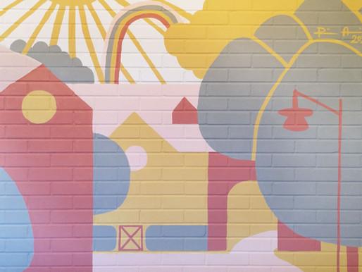 Ympäristöystävällinen seinämuraali päiväkotiin