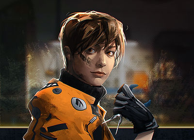 Portrait of Emma Blackwood: Young woman with brown pixie cut with grease smudge on right cheek. Wearing an orange jacket, black turtle neck, and black gloves and holding a pair of pliers.