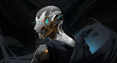 Portrait of Zee-o: Silver, black, and rose gold humanoid android looking off to the left with blue glowing eyes.