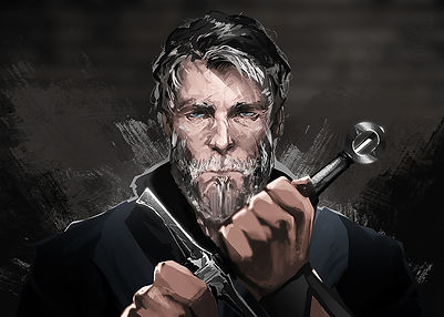 Portrait of Wyatt Fisher: Man with graying hair and beard, multiple scars across face, holding a longsword in front of him.