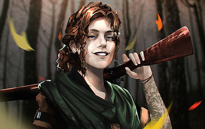 Portrait of Cassidy Shard: Woman with brunette crown braids around head and wearing a green scarf. Holding engraved riffle over left shoulder and left arm is covered in leaf and flower tattoos.