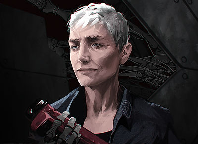 Portrait of Pallie Fisher: Woman with short white hair and smile lines holding a wrench with a mechanical prosthetic arm.
