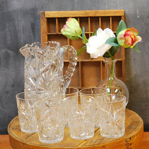 American Brilliant Cut Glass Pitcher & Glasses Set
