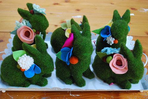 Green Bunnies with Felt Flowers