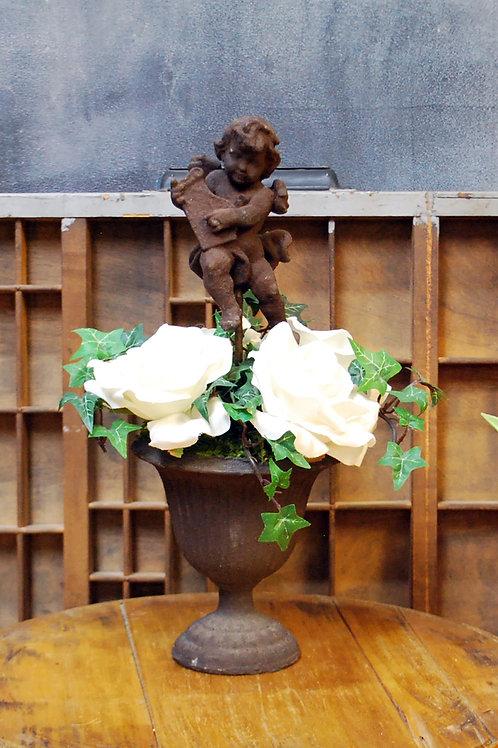 Cherub with White Roses