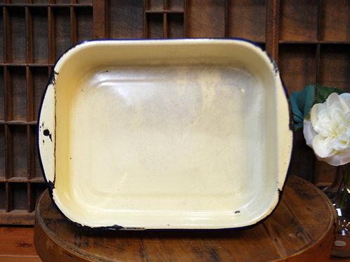 Vintage Beige Tan Enamelware Pan