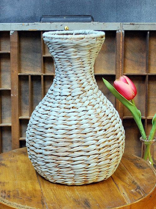 Vintage Woven Rattan Vase