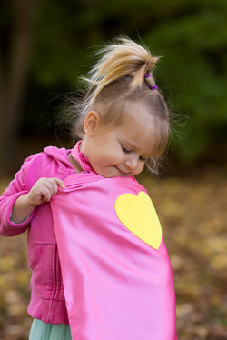 Little girl superhero cape with gold