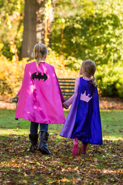 Lauren & Charlotte with hero capes