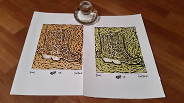 Two colorful prints made with the Print Frog glass baren.