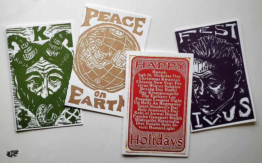 Holiday Woodblock Printed Cards